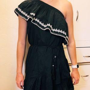 Black, one shoulder, tango inspired dress.